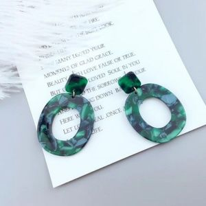 Jewelry - Green Acrylic Post Back Round Circle Earrings